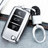 Blue/ Red/ Silver TPU Keyless Smart Key Fob Cover Full Protection Case for Volkswagen 3-button Key