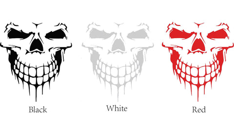 Auto Front Hood Vinyl Graphic Sticker - Truck Trailer Boat Door Window Decal - 1pcs Black/ White/ Red Skull Shape