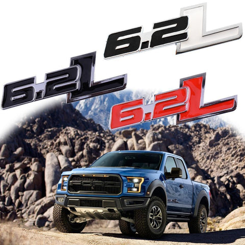 1X Metal Door Fender 6.2L Badge Emblem Sticker Ford F-150 F-250 F-350 F-Series[Black White \ Black \ Red \ Black Red]