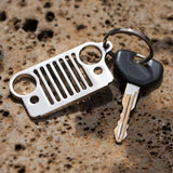 Metal Front Bumper Grill Shape Key Chain Fob Ring Keychain For Jeep [Matte Black / Silver]