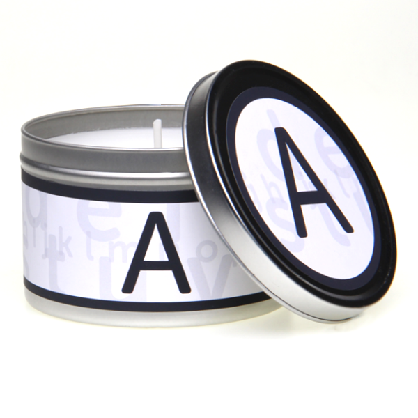In-Scents Personalised In-itial Alphabet Letter A Gift Tin Candle - Various Scents