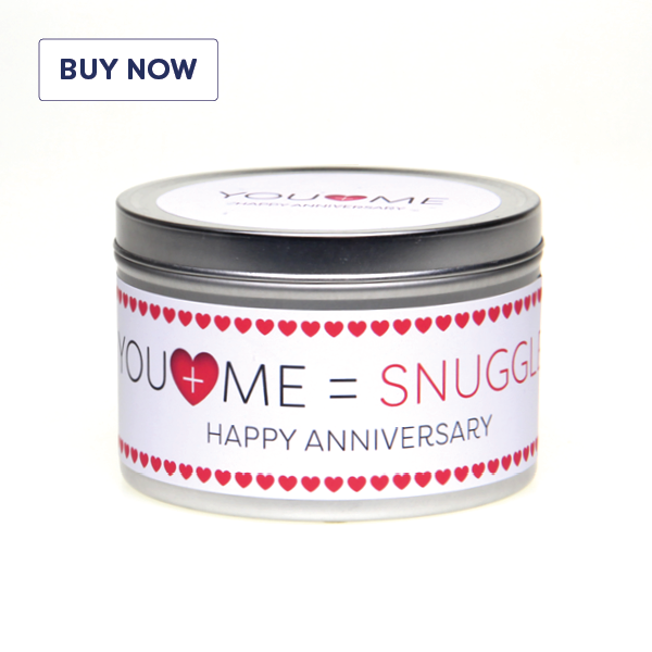 Anniversary 'You + Me = Snuggles' Gift Tin Candle - Various Scent