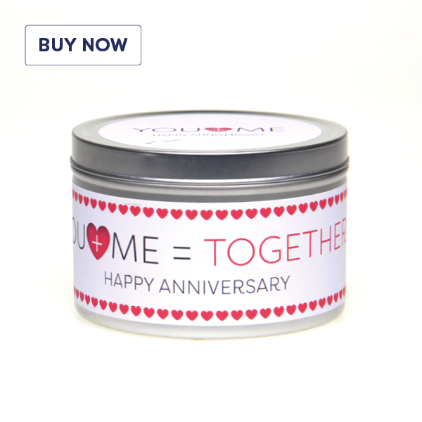 Anniversary 'You + Me = Together' Gift Tin Candle - Various Scent