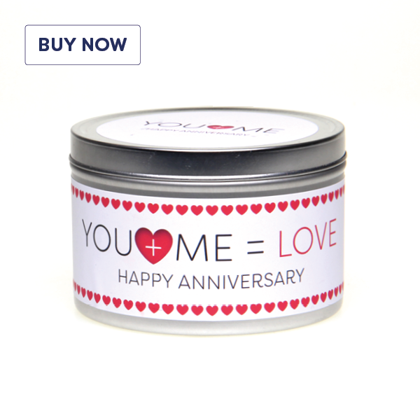Anniversary 'You + Me = Love' Gift Tin Candle - Various Scent