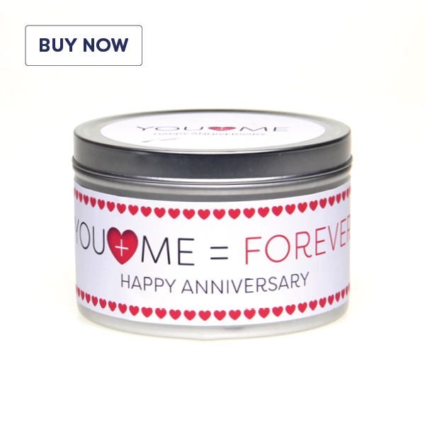 Anniversary 'You + Me = Forever' Gift Tin Candle - Various Scent