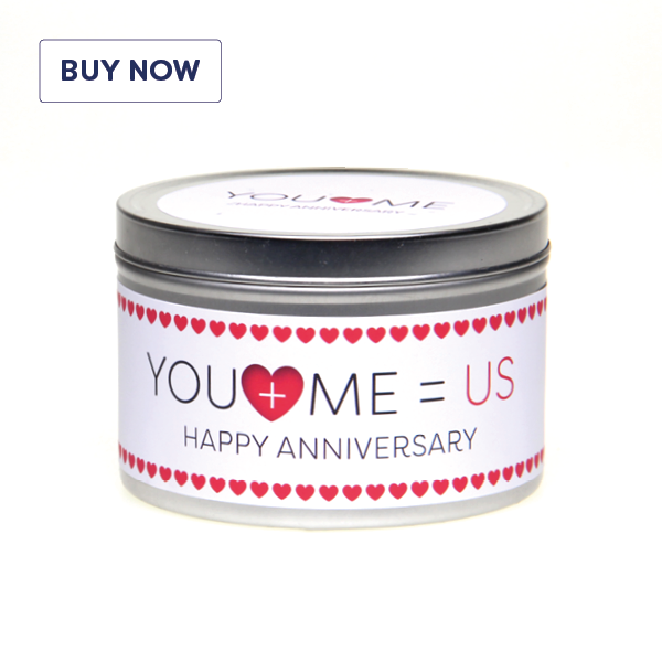Anniversary 'You + Me = Us' Gift Tin Candle - Various Scent