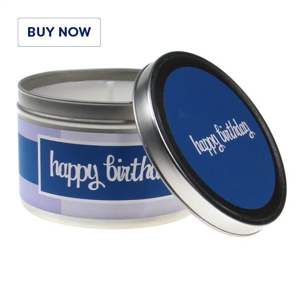 Happy Birthday Blue 2 Tin Candle - Various Scents