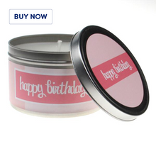 Happy Birthday Pink 1 Tin Candle - Various Scents