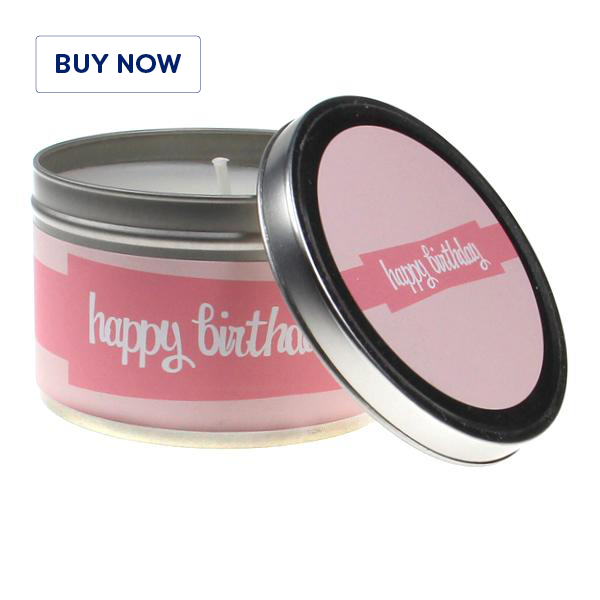 Happy Birthday Pink 2 Tin Candle - Various Scents