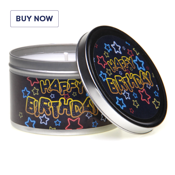 Happy Birthday Neon Stars Tin Candle - Various Scents