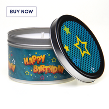 Happy Birthday Cartoon Style Tin Candle - Various Scents
