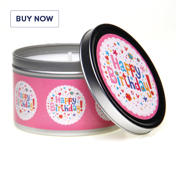 Happy Birthday Pink Stars Tin Candle - Various Scents