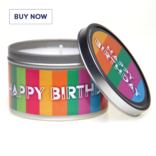 Happy Birthday Striped Tin Candle - Various Scents