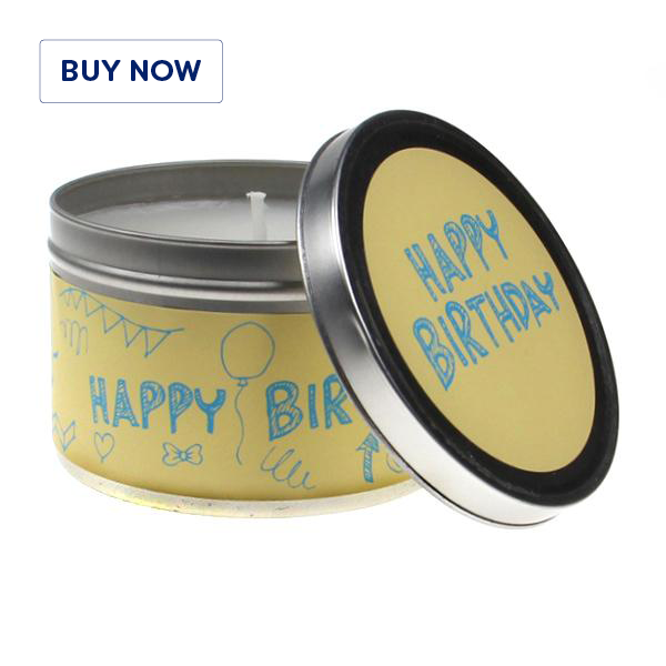 Happy Birthday Doodle Tin Candle - Various Scents