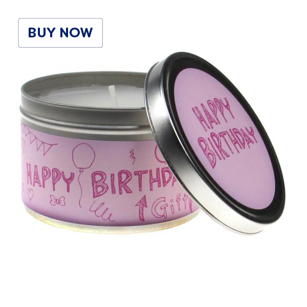 Happy Birthday Doodle 2 Tin Candle - Various Scents