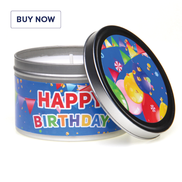Happy Birthday Colourful Tin Candle - Various Scents