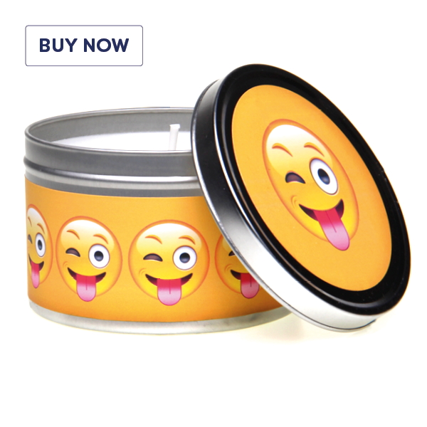 Emoji Gift Lets Be A Little Bit Cheeky! Tin Candle -Various Fragrances