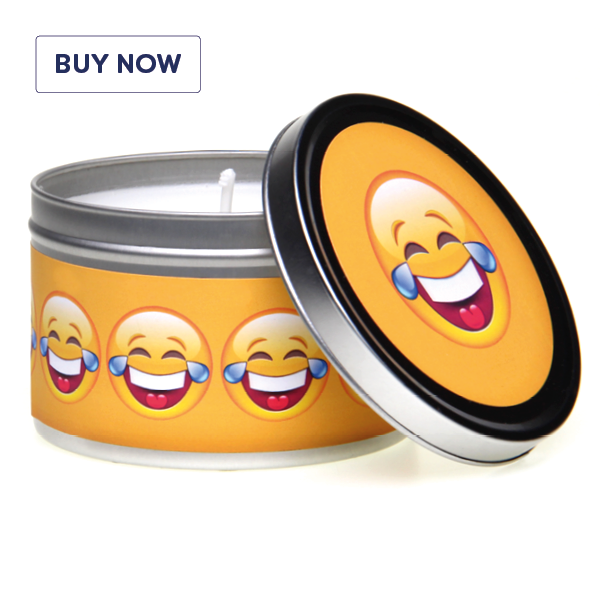 Emoji Cry Laughing! Smiley Face Gift Tin Candle - Various Fragrance