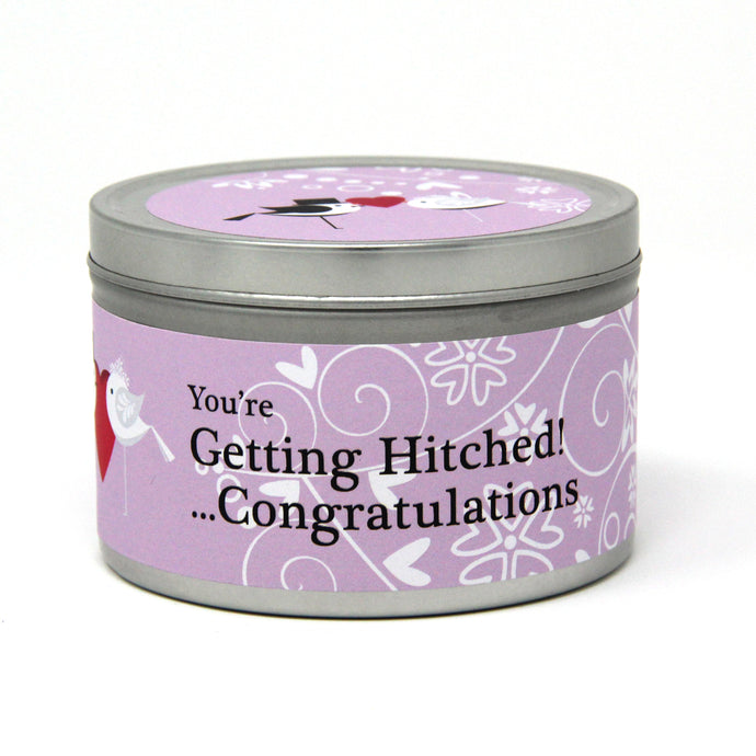 Wedding 'You're Getting Hitched!' Wedding Gift Tin Candle - Various Scents