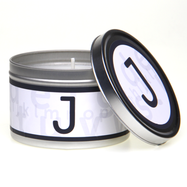 In-Scents Personalised In-itial Alphabet Letter J Gift Tin Candle - Various Scents
