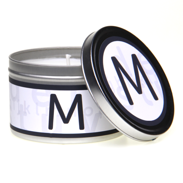 In-Scents Personalised In-itial Alphabet Letter M Gift Tin Candle - Various Scents