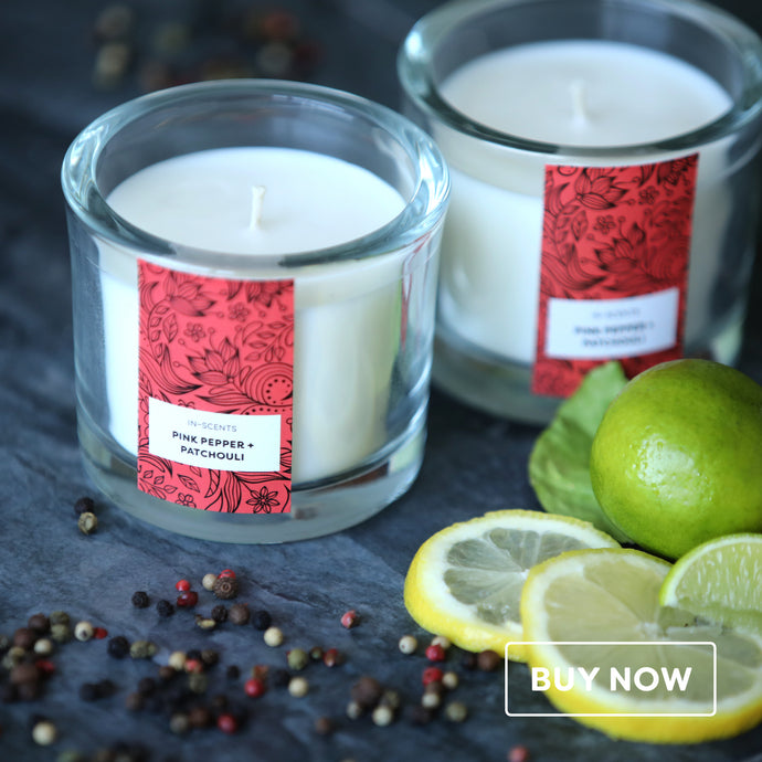 Trend Range – Medium Pink Pepper + Patchouli scented glass candle