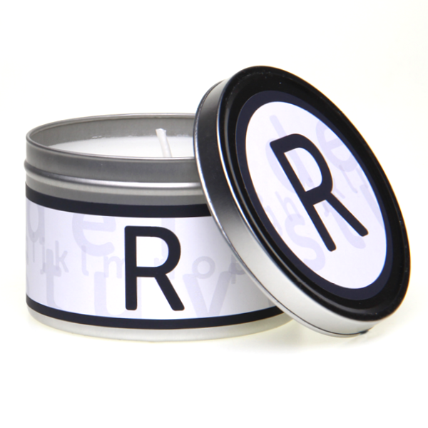 In-Scents Personalised In-itial Alphabet Letter R Gift Tin Candle - Various Scents