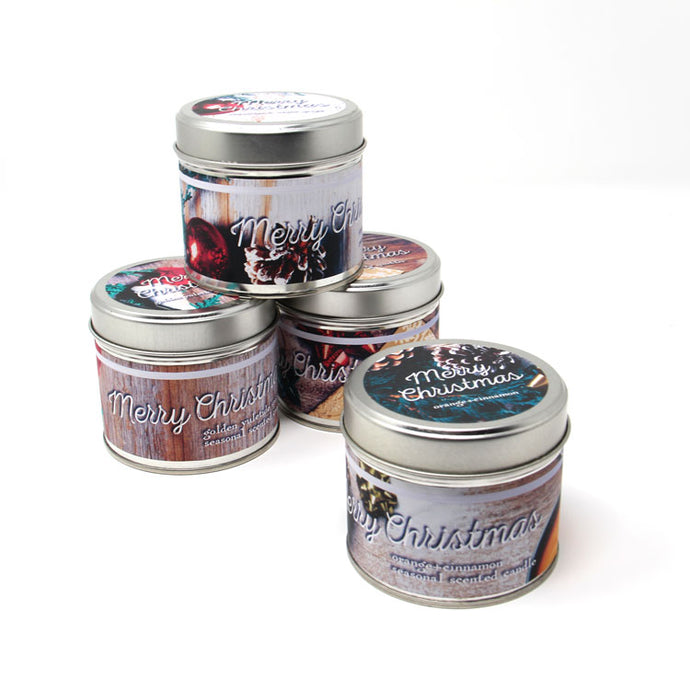 Merry Christmas tin candles 4 pack