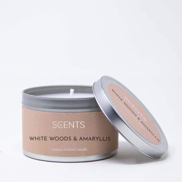 Classic Tin Candle - White Woods & Amaryllis