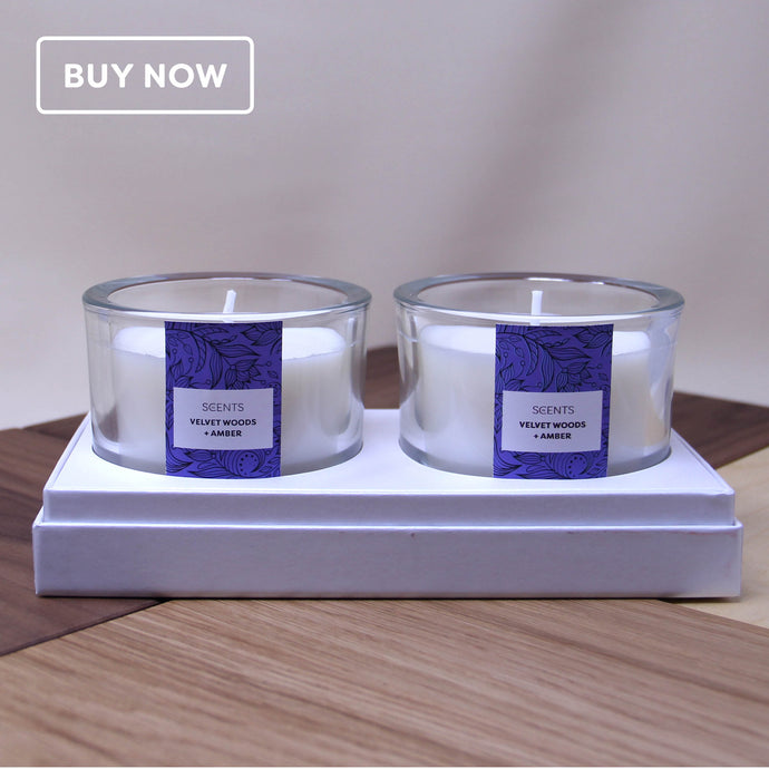 Trend Range – Medium Velvet Woods + Amber scented glass candle