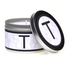 In-Scents Personalised In-itial Alphabet Letter T Gift Tin Candle - Various Scents
