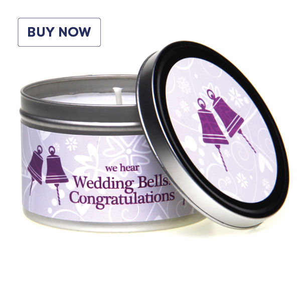 Wedding 'We Hear Wedding Bells' Fragrant Gift Tin Candle - Various Scents