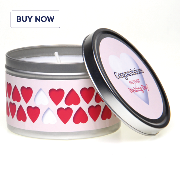 Wedding 'Congratulations On Your Wedding Day' Gift Tin Candle - Various Scents