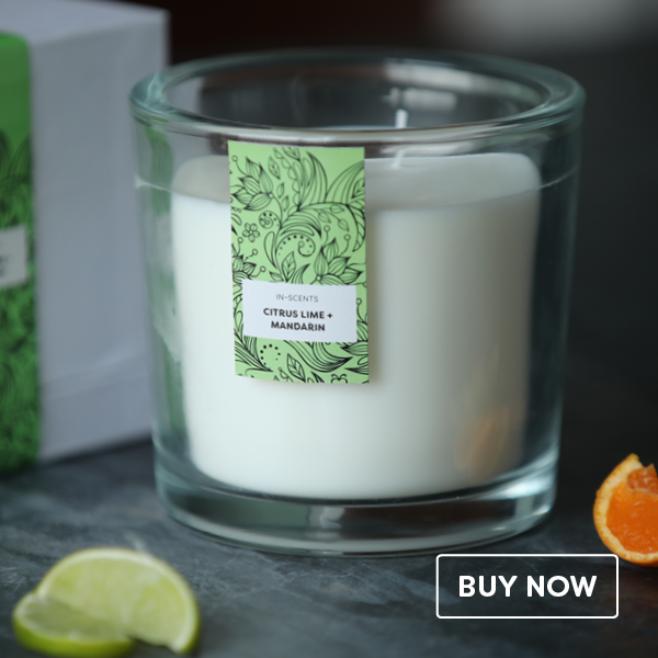 Trend Range – Extra Large Citrus Lime + Mandarin scented glass candle