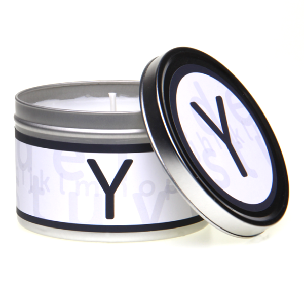 In-Scents Personalised In-itial Alphabet Letter Y Gift Tin Candle - Various Scents
