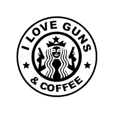 I Love Guns and Coffee Vinyl Decal Sticker - for Cars, Windows, Laptop or any smooth surface