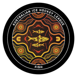 Aboriginal fish design on hockey puck