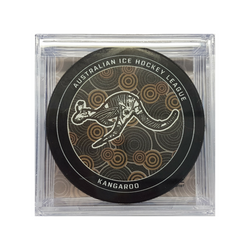 Ice hockey puck with kangaroo design