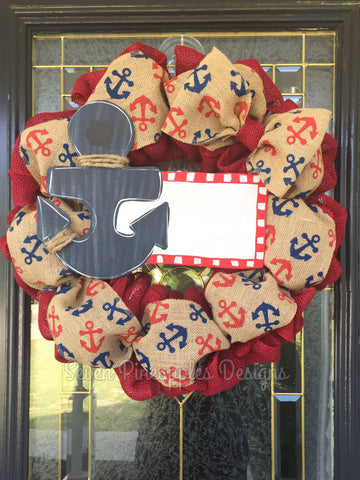 Anchor Patriotic Burlap Wreath