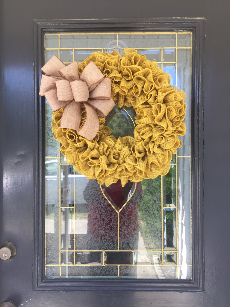 Yellow Ruffle Burlap Wreath