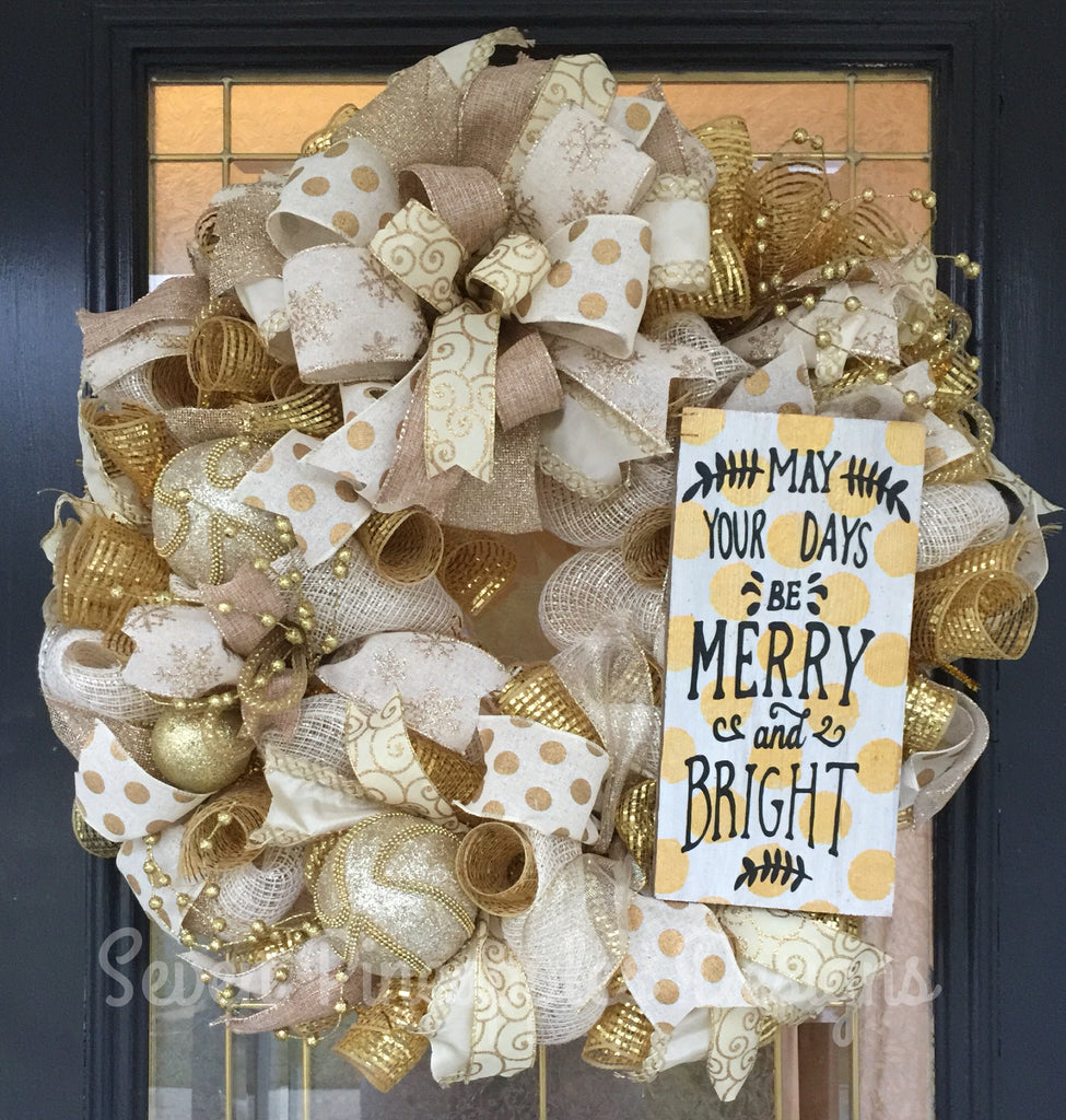 Gold Christmas Wreath.Cream And Gold Christmas Wreath