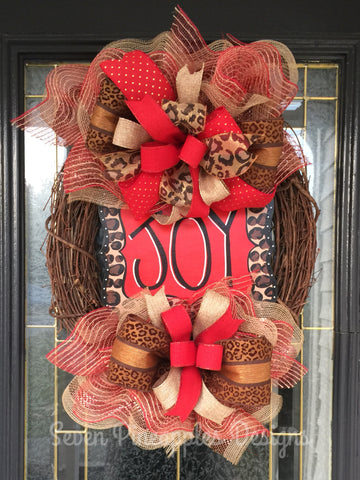JOY Red and Leopard/Cheetah Christmas Wreath