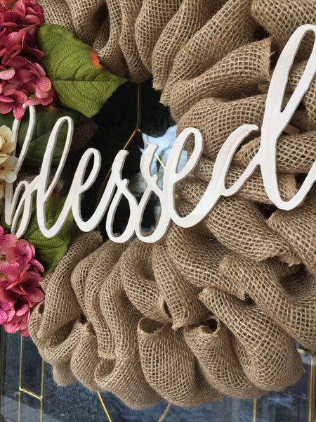 "Burlap Wreath with Hydrangeas and ""Blessed"" Sign"