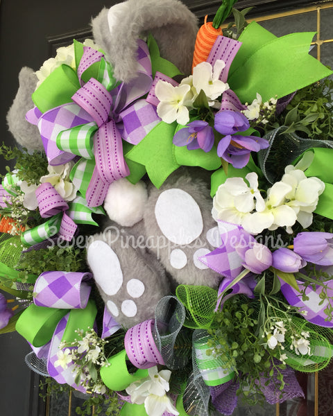 Spring Easter Floral Bunny Wreath