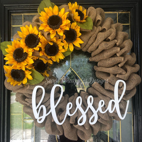 "Burlap Wreath with Sunflowers and ""Blessed"" Sign"