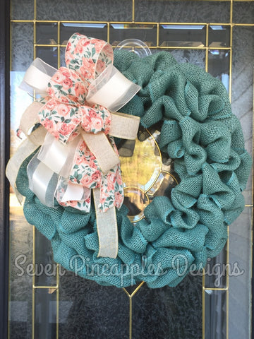 Teal Burlap Wreath