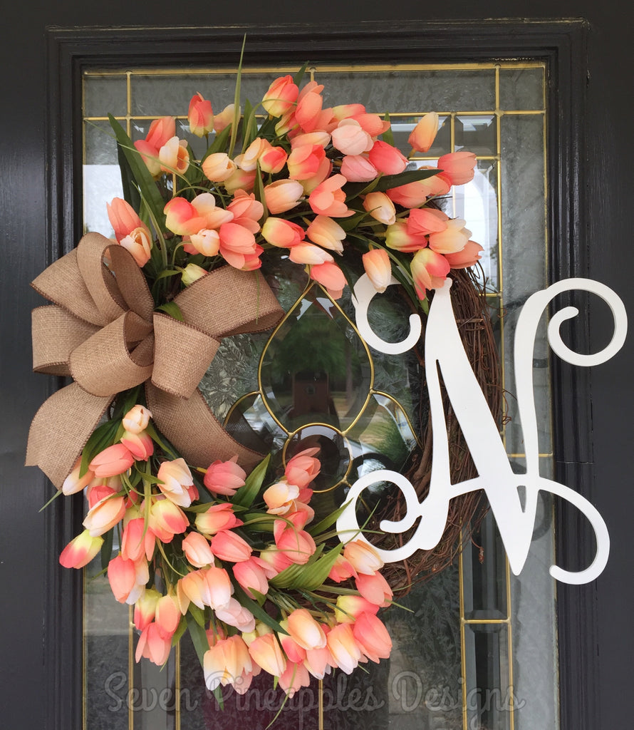 Spring Tulip Grapevine Wreath with Monogram Letter