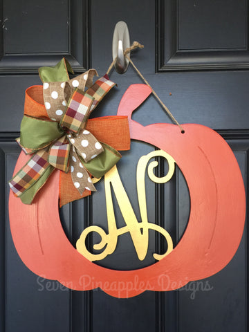 Pumpkin Monogram Door Hanger