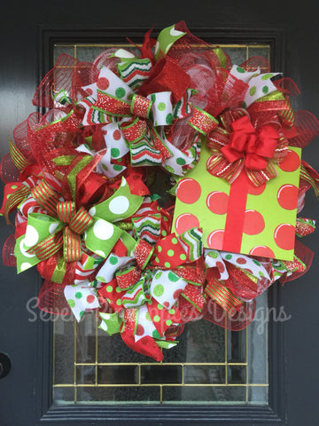 Christmas Gift Red and Lime Green Wreath