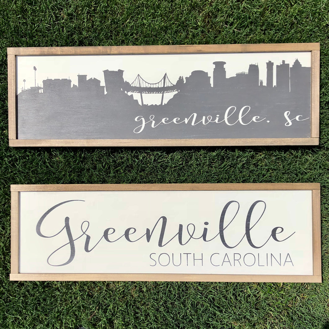 Greenville skyline / City name and state